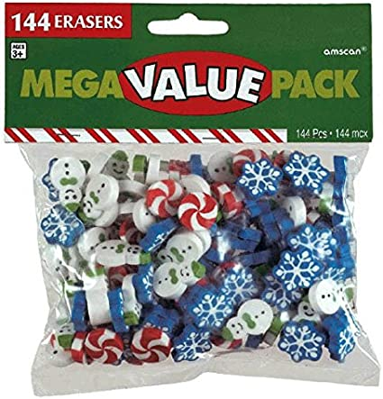 Amscan Christmas-Themed Winter Fun Erasers Party Favor 12 Ct
