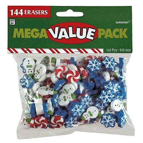amscan Christmas Themed Eraser Mega Value Pack, 144 Ct.   Party Favor