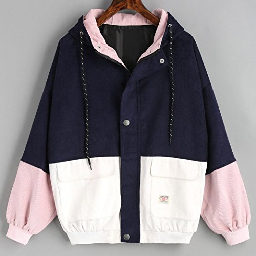 Zipper Oversize Oversize Windbreaker Corduroy Jacket Patchwork Women Zipper Jacket Long Navy Sleeve Coat PLOT Patchwork Overcoat 1vzxF5z