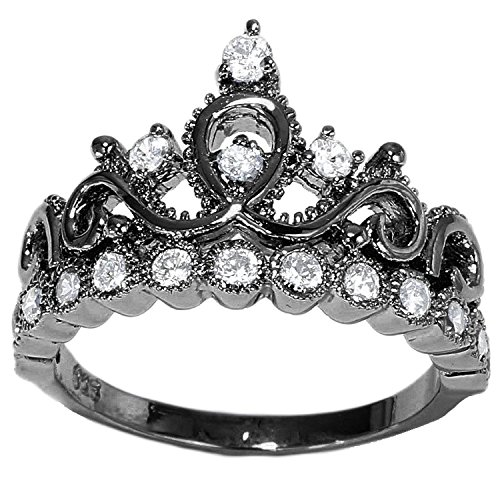 guliette verona sterling silver princess crown ring black