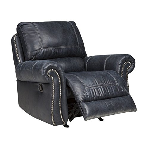Ashley Furniture Signature Design - Milhaven Faux Leather Upholstered Power Rocker Recliner - Contemporary - Navy from Signature Design by Ashley