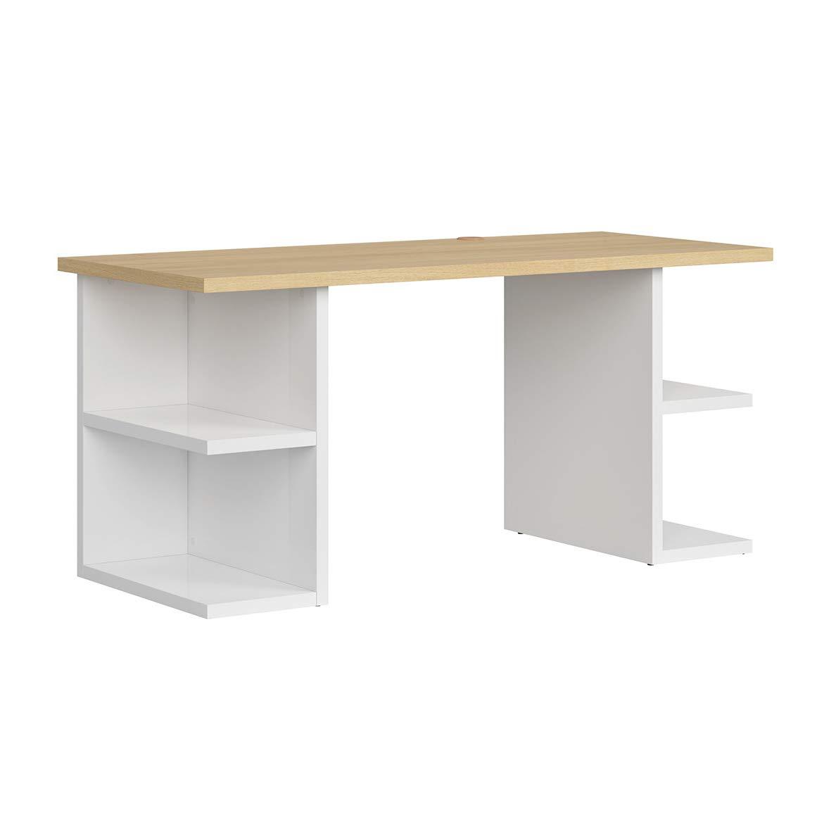 SMARTBett Danton - Mesa de Oficina (160 cm), Color Roble y Blanco ...