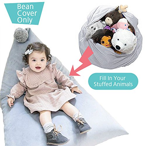 Bag Chair 102 Bean (Wonder Space Creative Large Toy Storage Bag - 100% Cotton Stuffed Animal Storage Bean Bag Chair, Cute Poms Design Seat Lounger Sofa for Kids, Storage Solution for Plush Toy (Grey Cover w/Grey Pom))