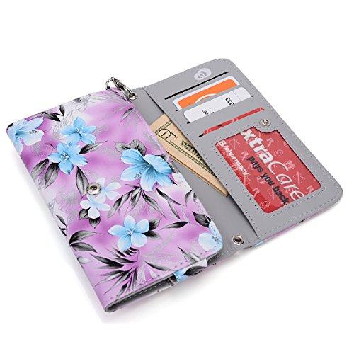 Alcatel Flash Plus,Alcatel One Touch Fierce XL,Alcatel one touch hero 2 Phone case wallet w/coin pocket (Purple Plumeria)