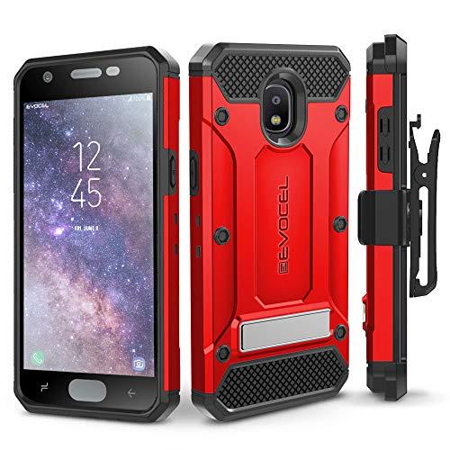 Galaxy J7 2018 / J7 Refine / J7 V 2nd Gen / J7 Star Case, Evocel [Explorer Series Pro] Premium Full Body Case w/Glass Screen Protector, Belt Clip, Metal Kickstand for J7 Top / J7 Crown, Red