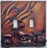 The Road's End Motorcycle Double Light Switch Plate Cover