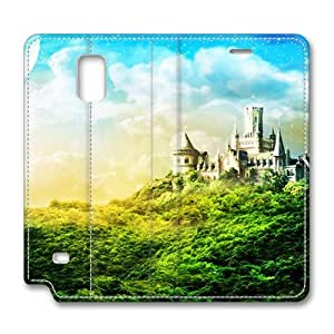 Brain114 Fashion Style Case Design Flip Folio PU Leather Cover Standup Cover Case with Charming Castle Pattern Skin for Samsung Galaxy Note 4