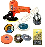 TOOLS CENTRE UNIVERSAL POLISHING /GRINDING & DRILLING KIT 450~600WATT RED VARIABLE SPEED DRILL MACHINE CUM CAR/BIKE POLISHER/SANDER CUM GRINDER MACHINE WITH 13PCS HSS DRILL SET + 10MM CHUCK + GRINDING & POLISHING WHEEL COMBO OFFER