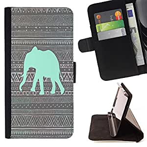 - Elephant Cute Aztec - - Style PU Leather Case Wallet Flip Stand Flap Closure Cover FOR Apple Iphone 5 / 5S - Devil Case -