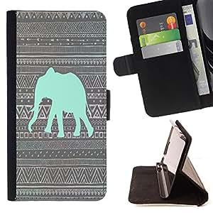 Dragon Case- Caja de la carpeta del caso en folio de cuero del tir¨®n de la cubierta protectora Shell FOR Samsung Galaxy G360 G3608 G3606- Elephant Cute Aztec