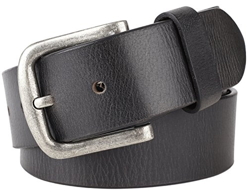 Men's 100% Cowhide One Piece Leather Belt,w/ Snaps for Interchangeable Buckles,black,size 38,# 9717 (Black Distressed Leather Belt)