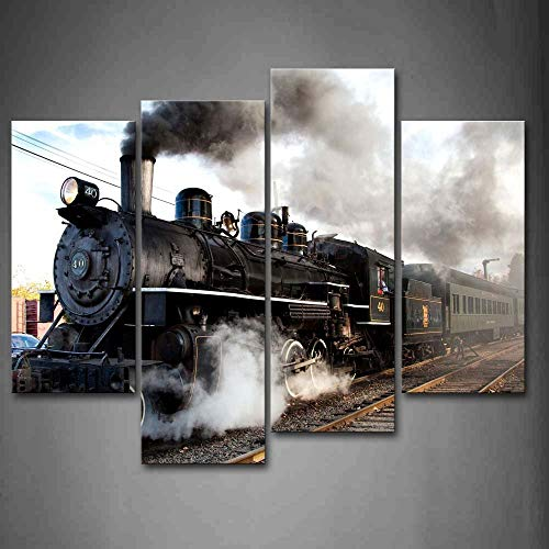 (Home For Art INC-Train with Gray Smoke Steam Trains in Progress Wall Art Painting The Picture Print On Canvas Car Pictures for Home Decor Decoration Gift)