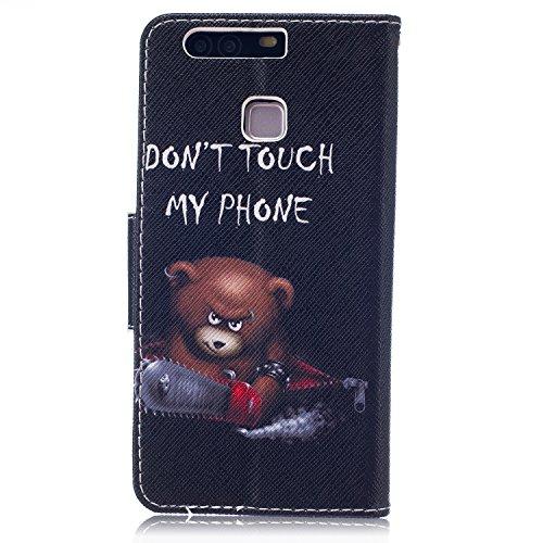 Funda para Huawei P9, Huawei P9Cover, ikasus oso mariposa flores Series–Funda de piel sintética plegable tipo cartera funda de piel con tapa con soporte Soportes de ID de tarjeta de crédito funda p Chainsaw Bear Don't Touch Py Phone