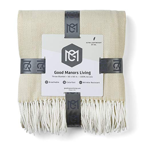 GOOD MANORS Herringbone Throw Blanket, Modern Farmhouse Decor for Couch, Chair, Ladder, Indoor-Outdoor Everyday Use, Soft Faux Cashmere, Ultra Lightweight, 50