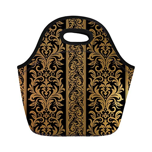Semtomn Lunch Tote Bag Pattern Stripes Damask Floral Scroll Abstract Antique Baroque Black Reusable Neoprene Insulated Thermal Outdoor Picnic Lunchbox for Men Women