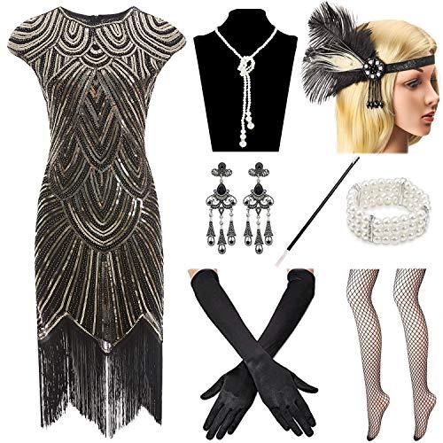 Women 1920s Vintage Flapper Fringe Beaded Great Gatsby Party Dress ()