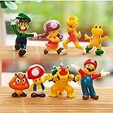 "8 Piece Mario Brothers Birthay Cake Topper, Super Mario Bros Action Figures, Mini Super Mario Bros Figures Bundle, 1.5"""