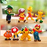 8 Piece Mario Brothers Birthay Cake Topper, Super Mario Bros Action Figures, Mini Super Mario Bros Figures Bundle, 1.5'