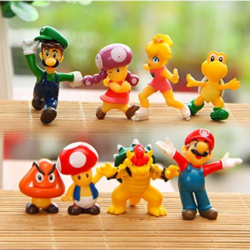 - 8 Piece Mario Brothers Birthay Cake Topper, Super Mario Bros Action Figures, Mini Super Mario Bros Figures Bundle, 1.5