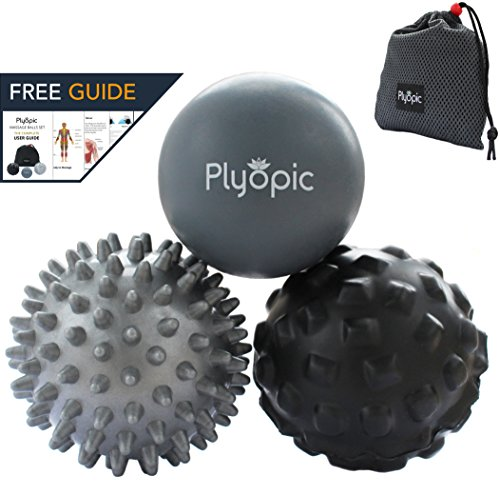 Set - Includes Rubber, Spiky and Foam Roller Massager Balls | For Myofascial Release, Trigger Point Relief, Plantar Fasciitis Therapy. Deep Tissue Muscle Pain: Back Neck Foot etc ()