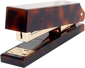 Desktop Stapler for Desk Acrylic Cover Metallic Rod with 950Pcs Rose Gold Staples Set No Jam Handheld Manual Stapler for Office School Home,Tortoise