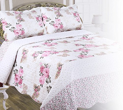 Chiara Rose Double Sided Reversible Microfiber Bedspread 3-Piece (2xSham 1xQuilt) Quilt Set King, Pink Roses
