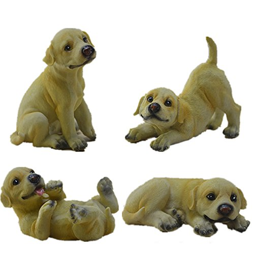 Lovely Resin Puppy Dog Statue Figurine Sculpture Home Counter Decoration 4pcs/set