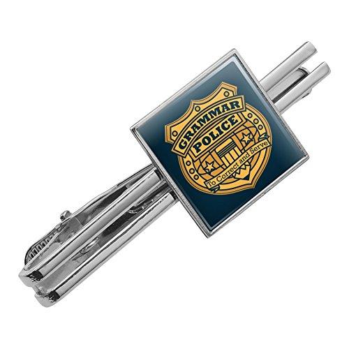 Grammar Police Badge Funny Square Tie Bar Clip Clasp Tack Silver Color
