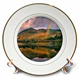 3dRose Danita Delimont - Rainbows - Rainbow over Twin Lakes and Sawatch Range, Colorado, USA - 8 inch Porcelain Plate (cp_259141_1)