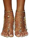 Bienvenu Tassel Barefoot Sandal Wedding Dancing Ankle Bracelet Boho Vintage with Coin, Gold