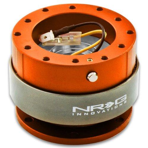 (NRG SRK-200OR Gen 2.0 Steering Wheel Quick Release Kit - Orange Body & Titanium Chrome Ring)