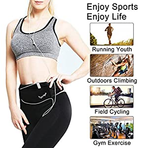 CyberDyer Running Belt Waist Pack - Adjustable Fanny Pouch for Runners Hands Free Workout - iPhone 6/7 Plus Hiking Gear Marathon for Men and Women (Black(Black))