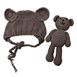 Tangc Newborn Baby Girl Boy Photography Prop Photo Crochet Knit Costume Bear +Hat Set (Brown)