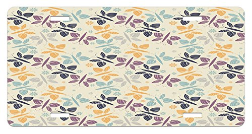 Blossom Time Pattern (Butterfly License Plate by Ambesonne, Pastel Colored Spring Time Inspired Pattern Butterfly Silhouettes and Blossoms, High Gloss Aluminum Novelty Plate, 5.88 L X 11.88 W Inches, Multicolor)