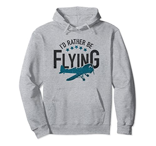 Unisex Id Rather Be Flying Hoodie Vintage Aviation Retro Pilot Gift Medium Heather Grey