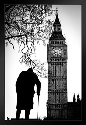 Big Ben and Sir Winston Churchill Statue Westminster London Black and White Photo Framed Poster 14x20 ()