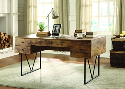 Coaster Home Furnishings  Analiese Rustic Industrial Four Drawer Writing Desk - Antique Nutmeg by Coaster Home Furnishings