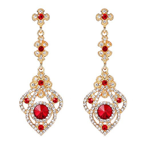 BriLove Women's Victorian Style Crystal Art Deco Gatsby Inspired Floral Chandelier Dangle Earrings Ruby Color (Victorian Style Earrings)