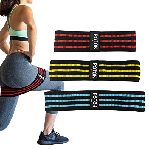 Potok Hip Resistance Bands, Hip Loop Bands for Legs and Butt Workout -Set of 3 Fabric Non Slip Glute Elastic Exercise Band for Warm-Up and Squat - Weight Lifting, Stretching, Pilates, Yoga
