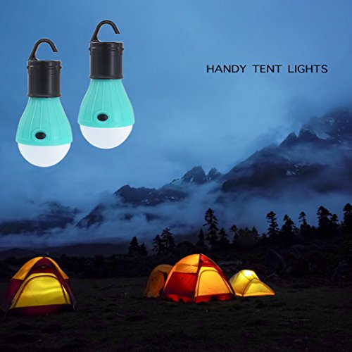 SlimK 2 Pack Portable LED Lantern Tent Light Bulb for Camping Hiking, Battery Powered Camping Equipment for Outdoor & Indoor by (Turquoise+Turquoise)