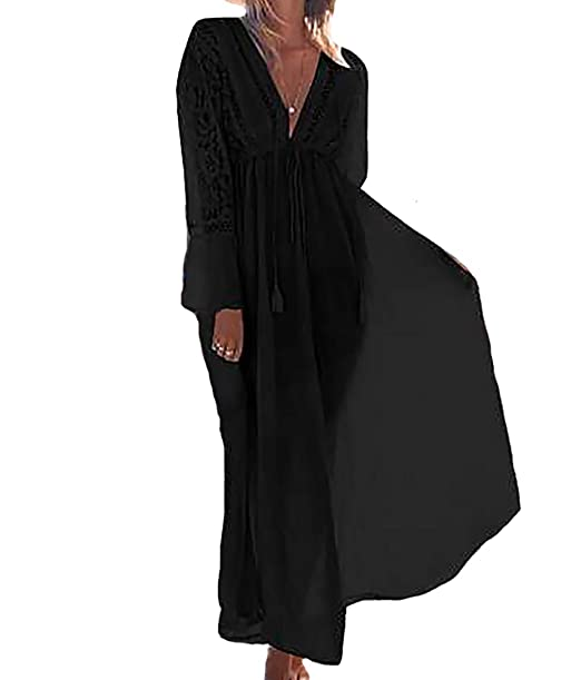 c1a9dc2bfd Bestyou Women's Rayon Lace Cover up Tunic Long Maxi Dress Free Size (Black),