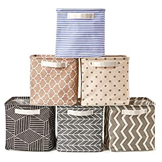 EZOWare 6 Pcs Cube Storage Bin Baskets, Collapsible Fabric Shelf Box Organizer with Handles for Bathroom, Shelves, Nursery, Home and Office - Multi, 10.5 x 10.5 x 10.5 inch