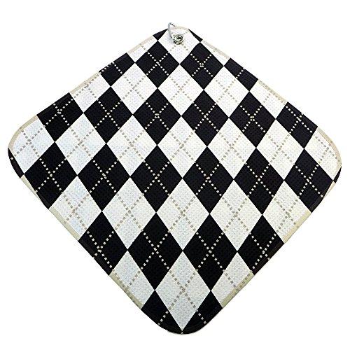 Argyle Golf Towel - Women's Black and White Argyle Microfiber Towel
