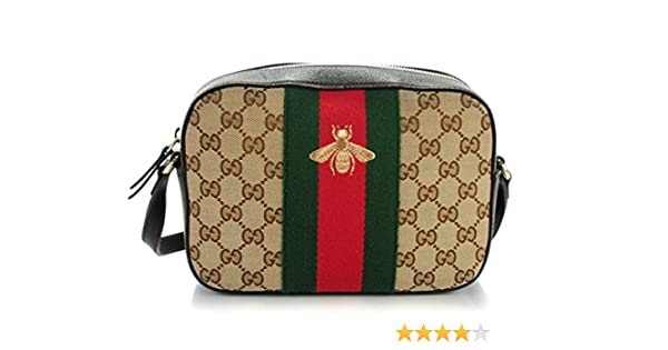 c9f36eb39260 Amazon.com: Gucci Bee Brown Web Camera Case Webby Red Stripe Camera Leather  Bag Italy New: Shoes