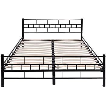 Amazon Com Black Queen Size Wood Slats Bed Frame Platform