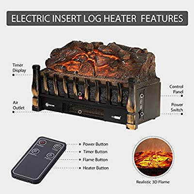 VIVOHOME 110V Electric Fireplace Insert Realistic Ember Bed Fan Heater Remote Controller