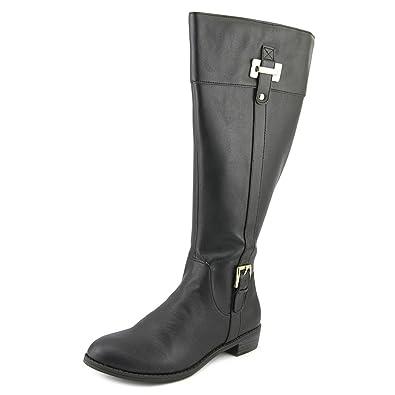 054f5e9ad0e Karen Scott Womens Deliee Wide Calf Closed Toe Knee High Boot Black Pu Size  5.0 M US
