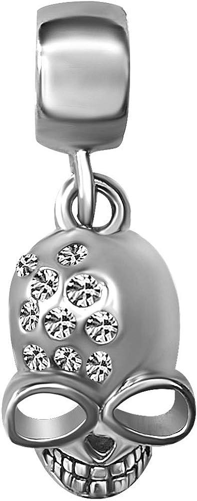 KunBead Halloween Sugar Skull Crystal Dangle Charms for Bracelets Necklaces