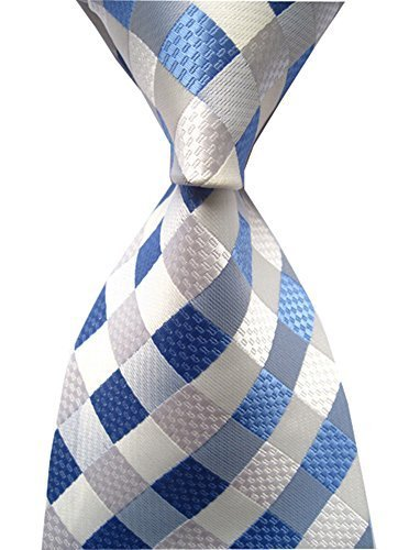 Secdtie Men's Classic Checks Light Blue Jacquard Woven Silk Tie Necktie Light Blue Striped Satin