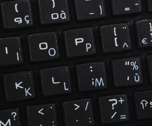 4Keyboard MAC French AZERTY Keyboard Stickers with White Lettering ON Transparent Background